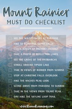 I'm sharing a checklist for the absolute must do things in Mount Rainier National Park, Washington. These suggestions include seeing the wildflower meadows, hiking the most beautiful trails, and scenic drives. Mt Rainier is a must visit for anyone coming Places To Travel, Oh The Places You'll Go, Travel Destinations, Mt Rainier National Park, National Parks Usa, Washington State, Seattle Washington, Best Hikes, Travel Usa
