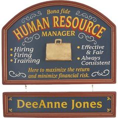 Personalized Human Resource Manager Custom Wood Sign
