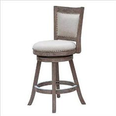 "Boraam 76524 24"" Melrose Counter Stool, Driftwood Gray Wire-brush and Ivory"