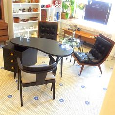Coolest Office Look! These beautiful #CarterBrothers #ScoopChairs paired with this newly #BlackLaquered desk with matching newly upholstered chair is it!