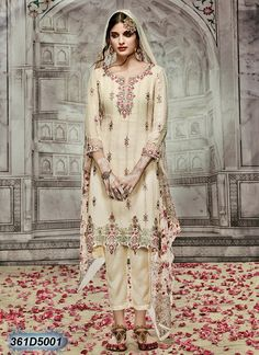 Stunning Off White & Light Pink Coloured Semi stitched Salwar Suit