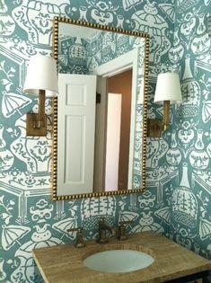 Amie Corley Interiors - bathrooms - David Hicks The Vase Wallpaper