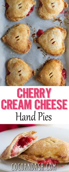 These cherry cream cheese hand pies are the perfect treat or dessert for Valentines day or even school lunches! These cherry cream cheese hand pies are the perfect treat or dessert for Valentines day or even school lunches! No Bake Desserts, Just Desserts, Delicious Desserts, Yummy Food, Baking Desserts, Cherry Desserts, Baking Cookies, Homemade Desserts, Sugar Cookies