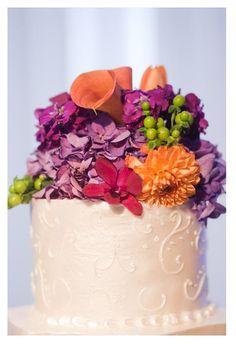 #Purpleorangewedding cake topper. #Wedding Beautiful!