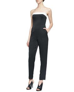 Iona Strapless Fitted Sateen Jumpsuit by Trina Turk at Neiman Marcus.