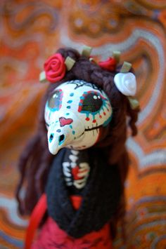 Raven Skull Day of the Dead doll on Etsy
