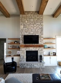 Fireplace Shelves, Fireplace Built Ins, Home Fireplace, Fireplace Remodel, Living Room With Fireplace, Fireplace Design, Fireplace Ideas, Fireplace With Cabinets, Two Story Fireplace