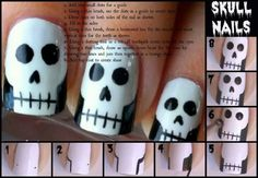 Skull nails step by step :D