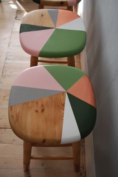 Be inspired by some of our favourite items of painted furniture that have left the Orange Otter workshop. Hand Painted Stools, Wooden Bar Stools, Hand Painted Furniture, Home Decor Furniture, Furniture Makeover, Copper Furniture, Plywood Furniture, Modern Furniture, Furniture Design