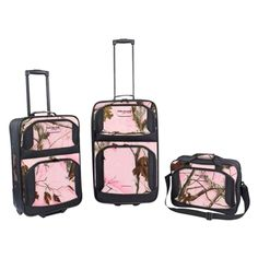 3 Piece Women Camo Travel Luggage Suitcases and Carry on Bag Set Pink > You can get additional details, click the image : Christmas Luggage and Travel Gear