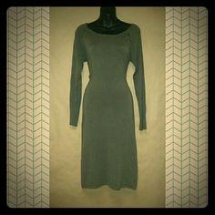 BCBG Max Azria Green Sweater Dress M Lattice Detail on Sleeves and Collarbone Crew neck Midi BCBGMaxAzria Dresses Midi