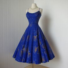 vintage 1950's Alfred Shaheen rare blue with silver by lolitabee, $330.00