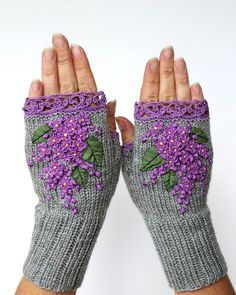Hand Knitted Fingerless Gloves Lilac Accessories Gloves &