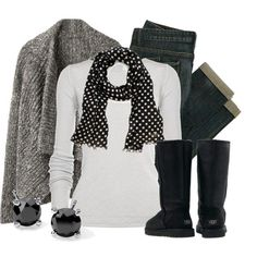 Neutral winter outfit - Gray wool sweater, white long sleeve t-shirt, black and white polka dot scarf, dark wash jeans, black uggs ugg Cyber Monday View More: www.yi5.org #uggs