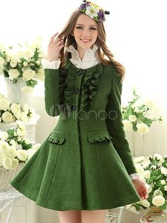 Women's #Fashion Clothing: #Coats, Jackets, and Blazers: Dark #Green Crewneck Long Sleeves Ruffles Solid Color Women's Coat: Clothes