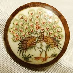 """Vintage Signed Asian Etched & Hand Painted Peacock Bovine Bone In Wood Button This button is artist signed. I'm not sure if this is Chinese or Japanese. It measures 1 7/16"""" SOLD $37.76"""