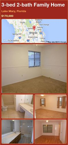 3-bed 2-bath Family Home in Lake Mary, Florida ►$170,000 #PropertyForSale #RealEstate #Florida http://florida-magic.com/properties/86825-family-home-for-sale-in-lake-mary-florida-with-3-bedroom-2-bathroom