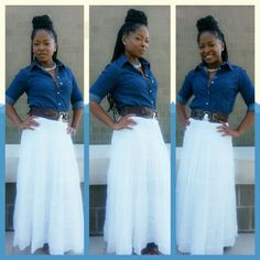 Teacher Style!! Teacher Outfit ideas Long White skirt, Denim Top, Outfit of the day