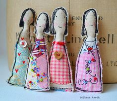 """Say 'hello' to my new girl Brooches. They are approx. 4"""" long/10cm. Free machine embroidered and stuffed with dry rice. I like..."""