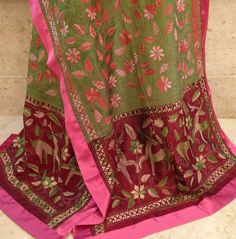 Kantha stitch stole on pure silk. For orders and inquiries, please mail us at naari@aninditacreations.com.  Like our page at www.facebook.com/naari.aninditacreations