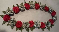 Origami Money Flowers, Money Origami, Paper Flowers Diy, Graduation Crafts, Graduation Leis, College Graduation, Money Rose, Money Lei, Money Bouquet