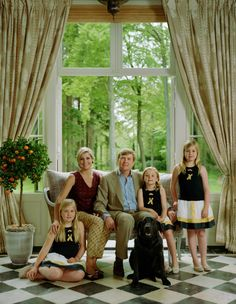 June 2013 - New Official Photos of King Willem Alexander , Queen Maxima and their daughters from left Catharina-Amalia, Princess of Orange, Princess Ariane, and Princess Alexia plus the Royal Dog