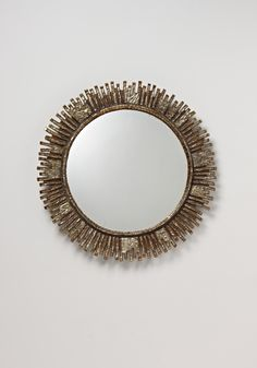 "Line Vautrin. ""Solaire"" mirror, 1965. Talosel resin, colored glass, mirrored glass."