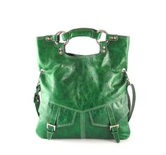 Bright  emerald green leather handbag / shoulder by artoncrafts, $135.00