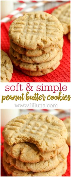 SOFT, delicious and EASY Peanut Butter Cookies recipe - our family's all-time favorite version of this classic cookie that always gets rave . Chocolate Chip Cookies, Easy Peanut Butter Cookies, Butter Cookies Recipe, Chocolate Cookie Recipes, Brownie Cookies, Peanut Better Cookies, Classic Peanut Butter Cookie Recipe, Soft Cookie Recipe, Easy Cheesecake Recipes