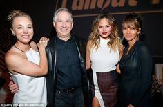 Supportive role: The actresses posed with Robert A. Altman, who's the ZeniMax Media Chairman/CEO