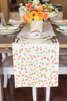 Easy Mother's Day Brunch Decor Idea :: Make a Fingerprint Table Runner! Instructions here on HGTV: http://www.hgtv.com/holidays-and-entertaining/make-a-fingerprint-table-runner-for-mothers-day/index.html