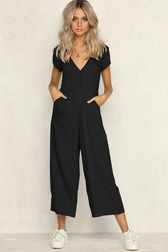 Sexy v neck wide leg jumpsuit for women 2018 Summer fashion short sleeve khaki rompers womens jumpsuit Causal loose overalls-geekbuyig Asos Jumpsuit, Jumpsuit Casual, Jumpsuit Outfit, Summer Jumpsuit, Short Jumpsuit, Jumpsuit With Sleeves, Cool Outfits, Summer Outfits, Casual Outfits