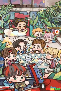 EXO <credits to owner> Kpop Exo, Exo Kokobop, Exo Chen, Baekhyun, Exo Cartoon, Cartoon Fan, Kaisoo, Chanbaek, Kpop Anime