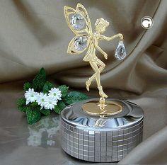 Spieluhr, Elfe, mit Kristall-Glas, gold-plattiert, Musik: MEMORY aus dem Musical CATS