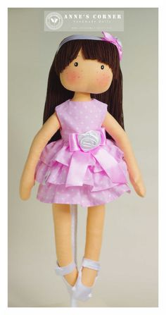 Sweet rag doll for small children with removable clothes (dress, panties, shoes and headband). All clothes are removable and easy to take off. Eyes