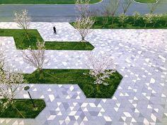 Landscape Design Plans, Landscape Elements, Contemporary Landscape, Urban Landscape, Commercial Landscaping, Modern Landscaping, Outdoor Landscaping, Landscape Plaza, Pavement Design