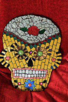 Yellow Dia de los Muertos Skull Mosaic