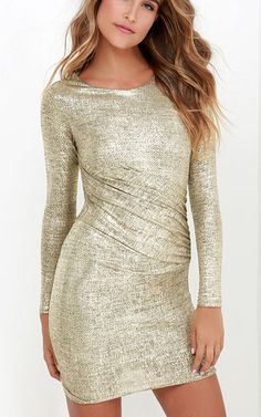 Luxe of my Life Gold Long Sleeve Dress via @bestchicfashion