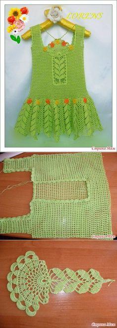 Centre section would make a nice bookmark Knitting For Kids, Crochet For Kids, Baby Knitting, Baby Dress Patterns, Crochet Patterns, Filet Crochet, Knit Crochet, Mode Crochet, Crochet Skirts