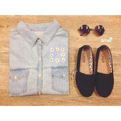 Camisas Jeans básicas porém lindas aqui na @loja_amei #novidades #lojaamei #amando #jeans #camisajeans #alpargata