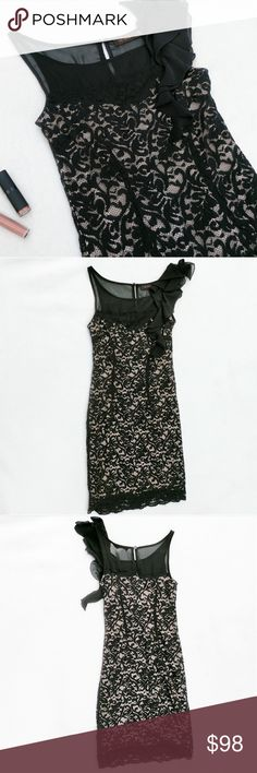 """The Limited Lace Black Nude Cocktail Party Dress Black and nude cocktail dress by The Limited.   Form fitting.  Black lace dress with a nude / deep creme underlay slip.   Underlay has a sweetheart neckline with a black sheer neckline and straps.   Has slight, cascading ruffles on one shoulder.   Has a small button keyhole on the back.  Size Small.  Approx. Measurements taken flat: Pit to pit: 30"""" Length: 37""""   Keywords: party dress, mini dress, formals, homecoming, prom, sexy The Limited…"""