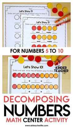 number 5 What is Shake and Spill Decomposing Numbers? Shake and Spill is a popular activity to teach students the different ways they can decompose a number. All you need are red/yellow count Subitizing Activities, Kindergarten Math Activities, Teaching Activities, Preschool Math, Math Resources, Teaching Math, Kids Math, Numeracy, Kindergarten Classroom