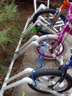 PVC bike rack | 25+ things to make with PVC Pipe Home Bike Rack, Pvc Bike Racks, Bike Parking Rack, Diy Bike Rack, Bicycle Rack, Camping Storage, Bike Storage, Storage Hacks, Two Car Garage