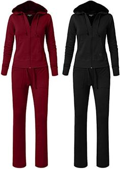 35660c012fa0a Beautiful NE PEOPLE Womens Casual Basic Terry Zip Up Hoodie Sweatsuit  Tracksuit Set S-3XL
