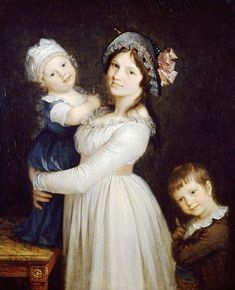 Portrait of Madame Georges Anthony with her children by Pierre-Paul Prud'hon… Jane Austen, Joseph, Pierre Paul, 18th Century Fashion, 19th Century, French Revolution, Empire Style, Children And Family, Vintage Clothing
