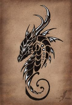"""The first of """"Moon dragons trio"""" tattoo design set, the dragon of a Moonless sky.Black and white pen on a brown paper. Dragon of a Moonless sky Chinese Tattoo Designs, Dragon Tattoo Designs, Dragon Head Tattoo, Tribal Dragon Tattoos, Dragon Henna, Dragon Head Drawing, Black Dragon Tattoo, Celtic Dragon Tattoos, Dragon Drawings"""