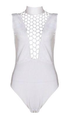 Jazelle White Deep V Bodysuit