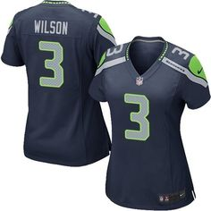 0fa24bb0a Get Official Women s Nike Seattle Seahawks 3 Russell Wilson Limited Steel  Blue Team Color NFL Jersey