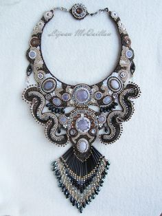 Bead Embroidery Necklace Dragons in the by Lijuanbeadjewelry, €468.00