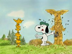 Snoopy building a totem pole with help from Woodstock and his friends - He's A Bully, Charlie Brown
